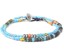 Venice Beach Multi-Stone, Sterling Silver and Leather Wrap Bracelet