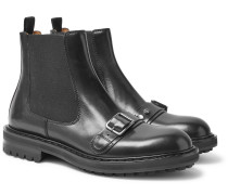 Buckle-detailed Leather Chelsea Boots