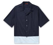 Camp-Collar Colour-Block Cotton-Poplin Shirt