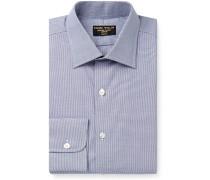 Blue Slim-Fit Puppytooth Cotton Shirt