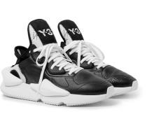 Kaiwa Neoprene-trimmed Full-grain Leather Sneakers