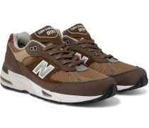 991 Leather-trimmed Nubuck, Suede And Mesh Sneakers