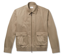 Cotton and Linen-Blend Blouson Jacket
