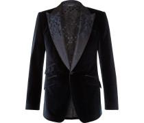 Slim-Fit Jacquard-Trimmed Cotton and Silk-Blend Velvet Blazer