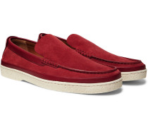 Leather-trimmed Suede Loafers - Red