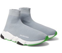 Speed Sock Stretch-knit Sneakers - Gray