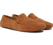 Cashmere-lined Suede Slippers - Tan