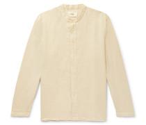 Grandad-Collar Slub Linen and Cotton-Blend Shirt