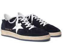 Ball Star Distressed Suede And Leather Sneakers