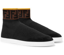 Logo-jacquard Suede-trimmed Stretch-knit High-top Sneakers