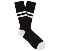 Ribbed Striped Melangé Cotton-Blend Socks