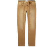 Slim-Fit Belted Cotton-Canvas Trousers