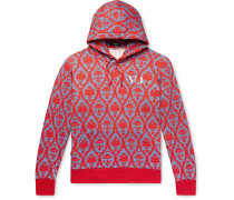 + Valentino Logo-Embroidered Printed Loopback Cotton-Jersey Hoodie