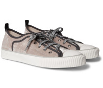 Cap-toe Canvas-trimmed Velvet Sneakers - Gray