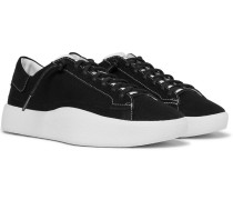 Tangutsu Suede-trimmed Canvas Sneakers - Black