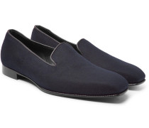 + George Cleverley Windsor Leather-trimmed Cashmere Slippers - Navy