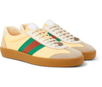 Webbing-trimmed Leather And Suede Sneakers
