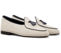 Marphy Leather-Trimmed Herringbone Wool Tasselled Loafers