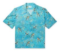 Aquarium Camp-Collar Mulberry Silk Shirt