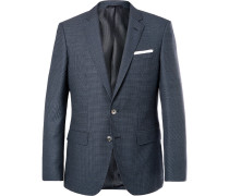 Navy Hutsons Slim-fit Checked Virgin Wool Blazer - Navy