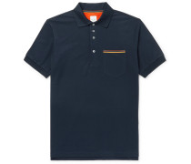 Stripe-trimmed Cotton-piqué Polo Shirt - Navy