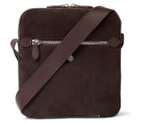 Baker Leather-Trimmed Suede Messenger Bag