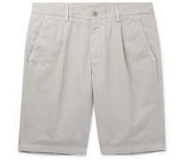 Slim-Fit Pleated Cotton-Twill Shorts