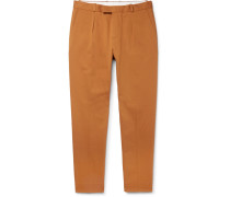 Cropped Pleated Cotton-gabardine Trousers - Yellow