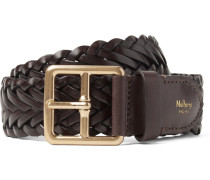 4cm Brown Woven Leather Belt - Brown