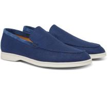 Summer Walk Suede-Trimmed Linen Loafers