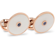 Dreamcatcher Rose Gold-Plated, Mother-of-Pearl and Sapphire Cufflinks