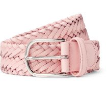 3.5cm Light-pink Woven Leather Belt