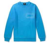 Jaws Oversized Distressed Loopback Cotton-jersey Sweatshirt - Light blue