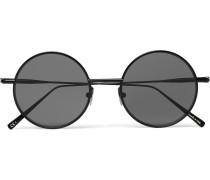 Scientist Round-frame Matte-metal Sunglasses