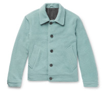 Boiled Wool-blend Jacket - Turquoise