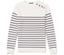 Buttoned Striped Wool Sweater