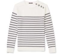 Buttoned Striped Wool Sweater - Ecru