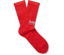 Intarsia Stretch Cotton-blend Socks