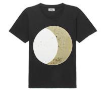 Glittered Washed Cotton-jersey T-shirt - Black