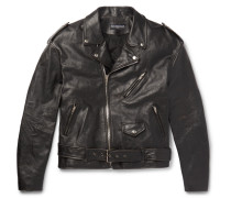 Oversized Printed Leather Biker Jacket - Black