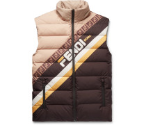 Logo-print Quilted Shell Down Gilet - Brown
