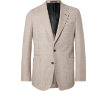Sand Soho Slim-fit Basketweave Stretch-wool Blazer