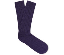 Waddington Ribbed Cashmere-blend Socks - Dark purple