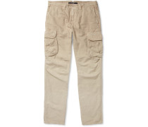 Slim-fit Cotton And Linen-blend Cargo Trousers - Beige