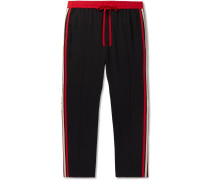 Tapered Logo Webbing-Trimmed Woven Drawstring Trousers