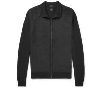 Textured Virgin Wool Zip-up Cardigan - Black