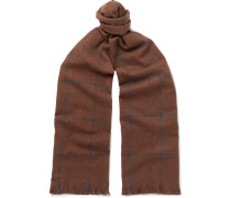 Fringed Checked Wool Scarf - Brown
