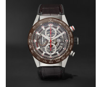 Carrera Automatic Chronograph 43mm Stainless Steel, Ceramic And Alligator Watch