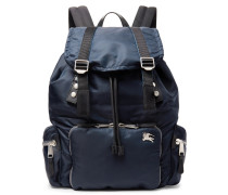 Leather-trimmed Nylon Backpack - Navy