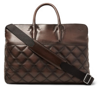 Cube Quilted Leather Holdall - Brown